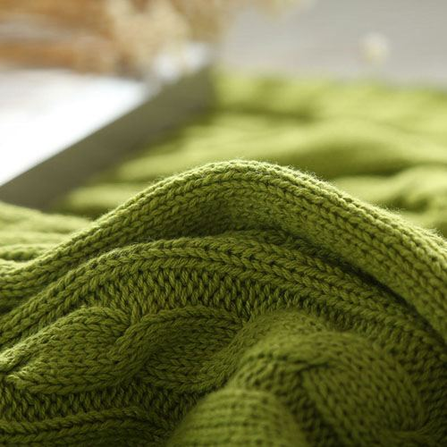 Striped Knitted Cotton Blanket Image 5