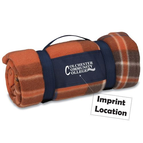 Rust Plaid Galloway Travel Blanket Imprint Image