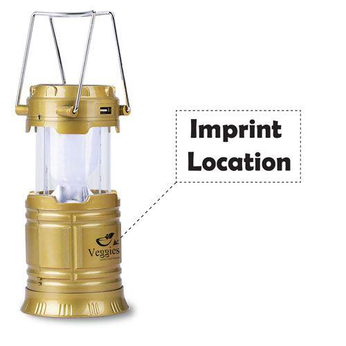 Solar Power 6 LED Camping Lantern Imprint Image