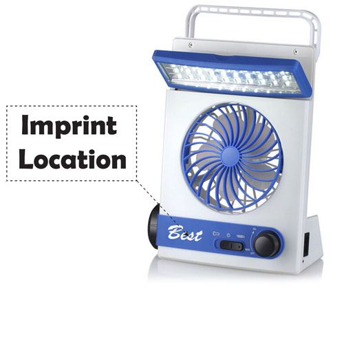 Emergency Solar Fan With LED Light Imprint Image