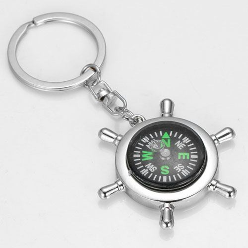 Ship Wheel Keychain Compass
