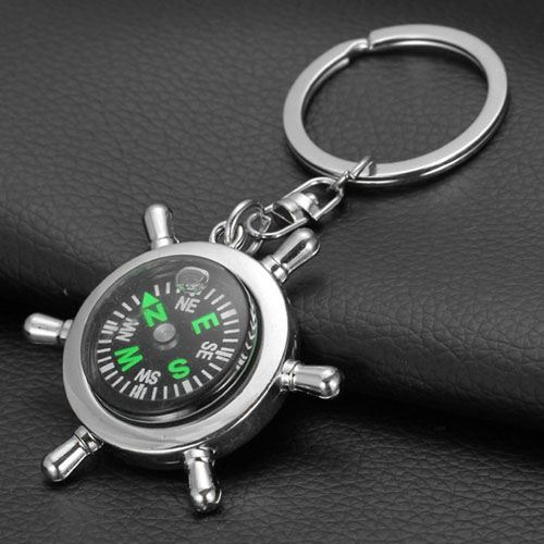 Ship Wheel Keychain Compass Image 1