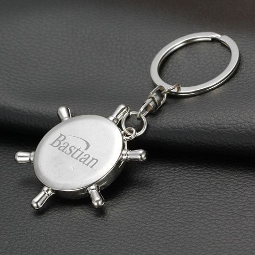 Ship Wheel Keychain Compass Image 3
