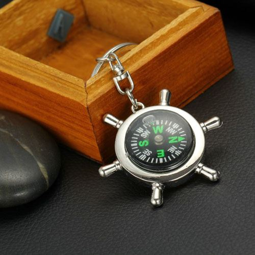 Ship Wheel Keychain Compass Image 4