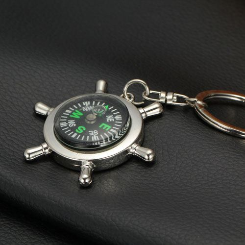 Ship Wheel Keychain Compass Image 5