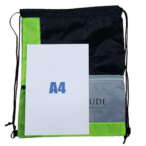 Lightweight Front Zip Pocket Drawstring Bag