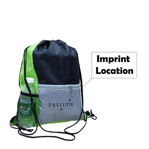 Lightweight Front Zip Pocket Drawstring Bag Imprint Image