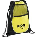 Net Pocket Zipper Drawstring Backpack