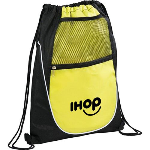 Net Pocket Zipper Drawstring Backpack