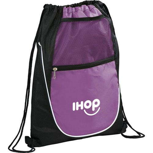 Net Pocket Zipper Drawstring Backpack Image 2