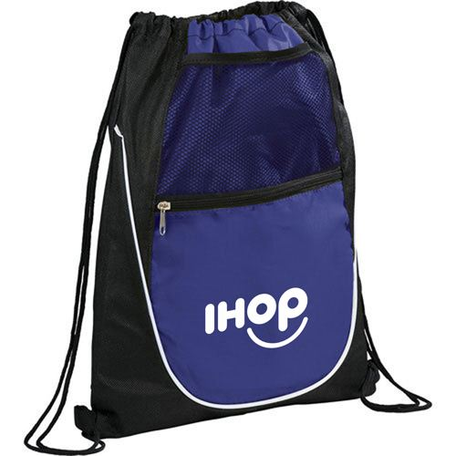 Net Pocket Zipper Drawstring Backpack Image 3
