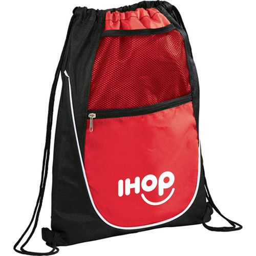 Net Pocket Zipper Drawstring Backpack Image 4