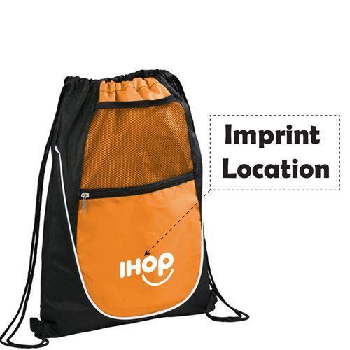 Net Pocket Zipper Drawstring Backpack Imprint Image
