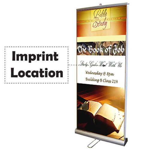 Double Sided Retractable Roll Up 33 Inch Banner Stand Imprint Image