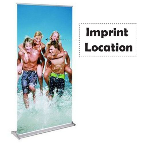 Portable Aluminum Silver Roll Up Banner Stand Imprint Image