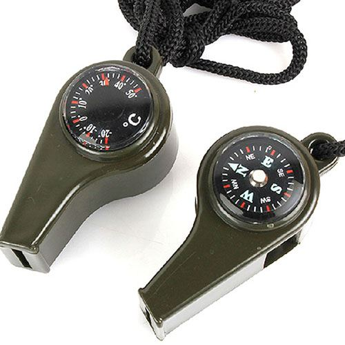 Three in One Compass Thermometer Survival Whistle Image 1