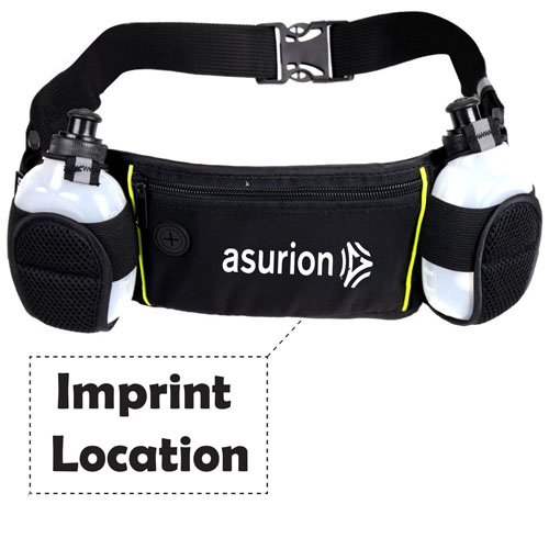 Dual Water Bottle Travel Waist Belt Imprint Image