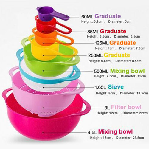 Multicolor 8 Piece Kitchen Bowl Image 4