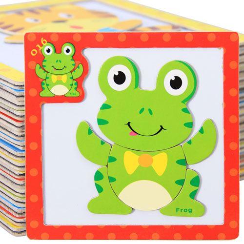 Children 3 Pieces 3D Wooden Cartoon Animal Puzzles Image 1