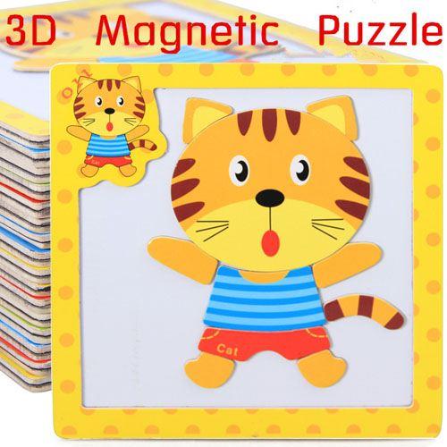 Children 3 Pieces 3D Wooden Cartoon Animal Puzzles Image 2