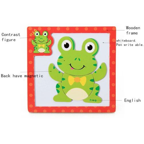 Children 3 Pieces 3D Wooden Cartoon Animal Puzzles Image 4