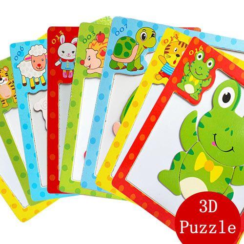 Children 3 Pieces 3D Wooden Cartoon Animal Puzzles Image 5