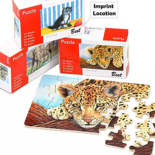 Cute Animals 24 Pieces Wooden Puzzle Imprint Image