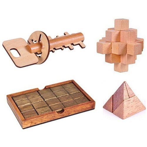 Mind Brain Logic 4 Pieces Wooden IQ Puzzle