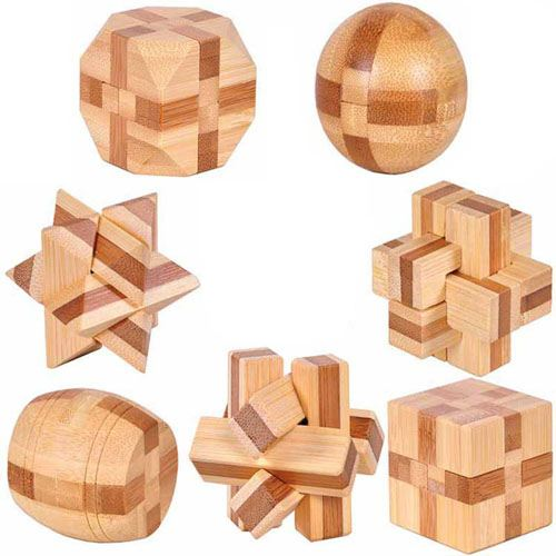 Ecofriendly 3D Bamboo IQ Logic Puzzle