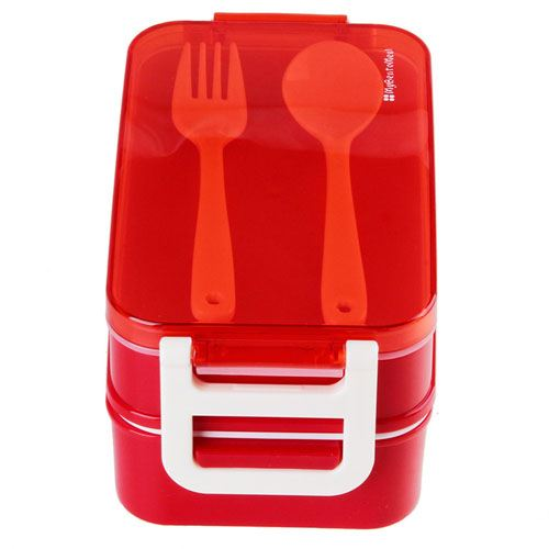 Microwave Food Container With Spoon Fork