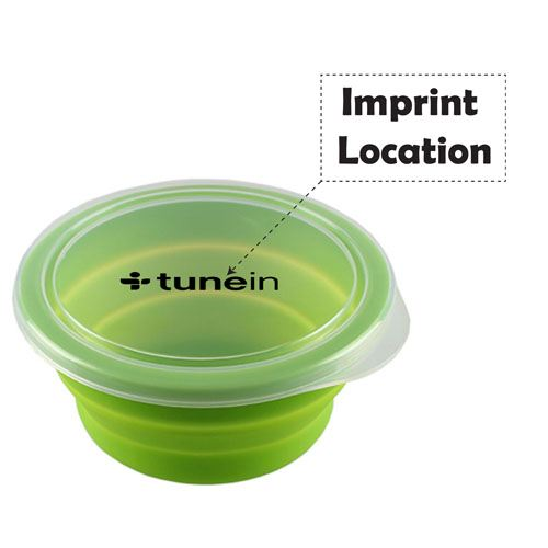 Round Silicone Collapsible Lunch Box Imprint Image
