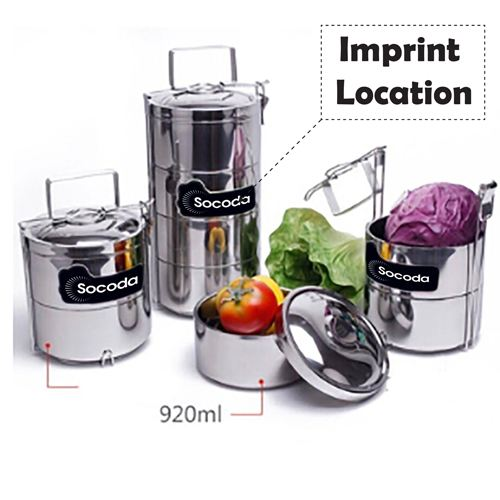 Lunch Box 3 Layer Big 2.8L Food Container Imprint Image
