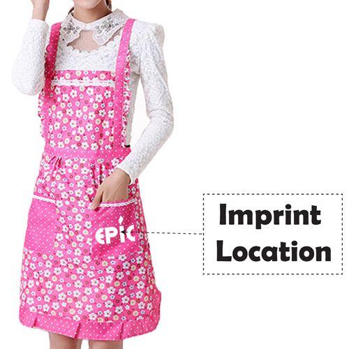 Floral Pocket Women Apron Imprint Image