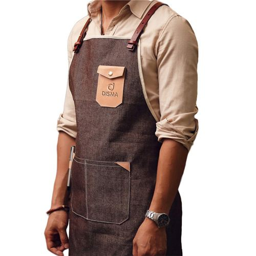 Personalized Logo Leather Strap Denim Apron