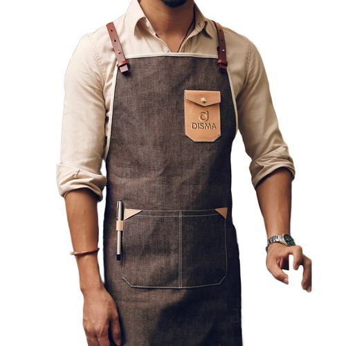 Personalized Logo Leather Strap Denim Apron Image 1