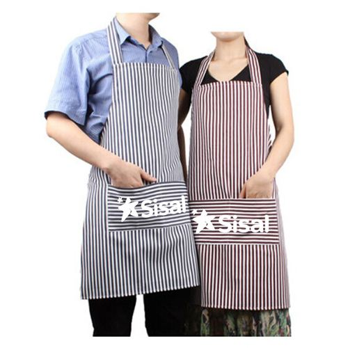 Stripe Cooking Apron With 2 Pockets