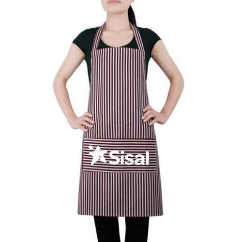 Stripe Cooking Apron With 2 Pockets Image 1