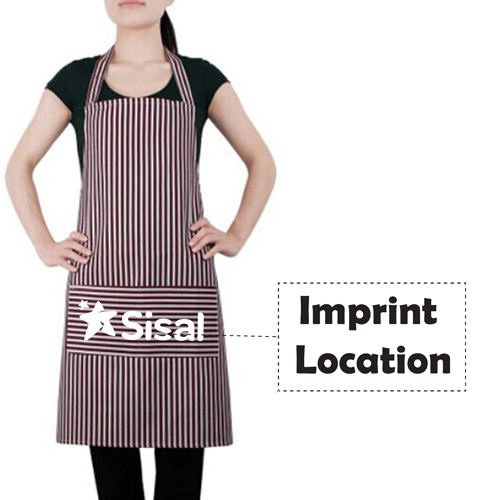 Stripe Cooking Apron With 2 Pockets Imprint Image