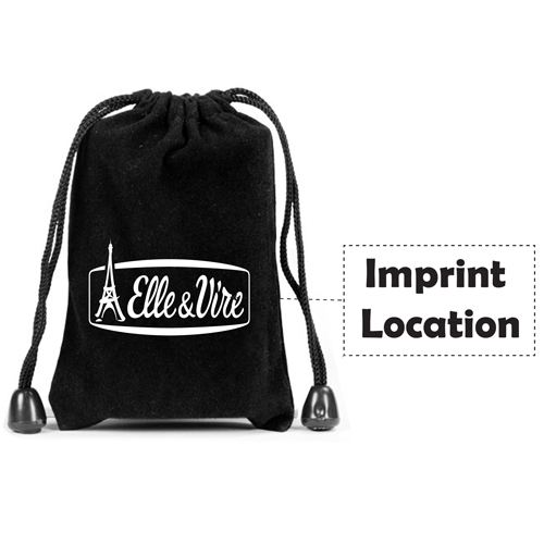 Velvet Flash Drive Drawstring Bag Imprint Image