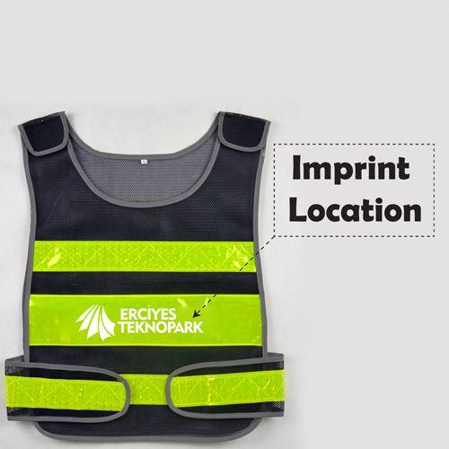 Working Running Reflective Stripes Safety Vest Imprint Image