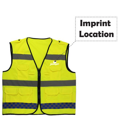 Multiple Pockets Reflective Safety Vest Imprint Image