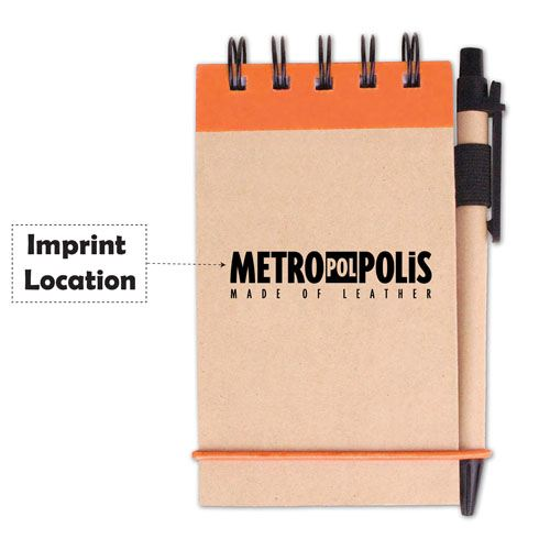 Spiral Bound Kraft Jotter With Pen Imprint Image
