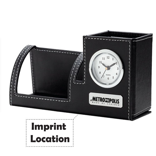 Excutive Leather Pen & Phone Holder Clock Imprint Image