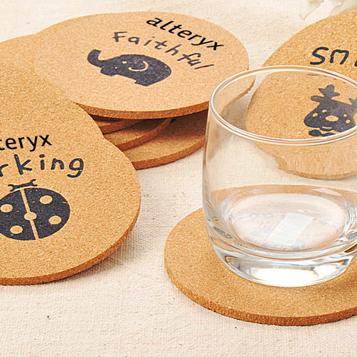 Round Wood Cork Coaster Image 2