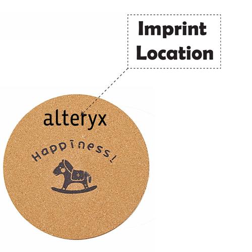 Round Wood Cork Coaster Imprint Image