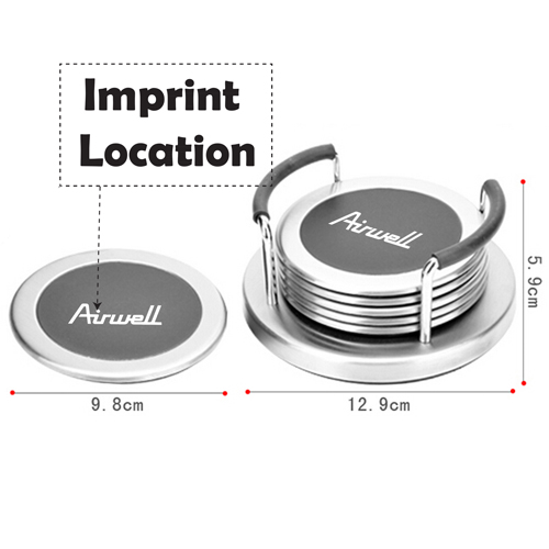Round 6 Insulation Coaster With Holder Imprint Image