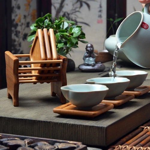 Bamboo Tea Coasters With Holder Image 4