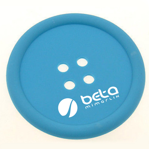 Button Shape Silicone Coasters Image 1
