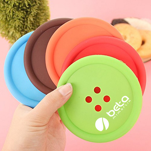 Button Shape Silicone Coasters Image 4
