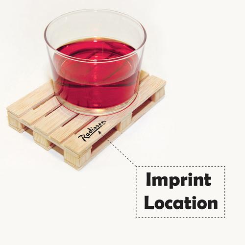 Miniature Pallet Wood Coasters Imprint Image
